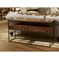Rectangular Metal & Wood Console Table