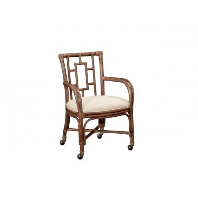 Rarotonga Bamboo Castered Dining Arm Chair