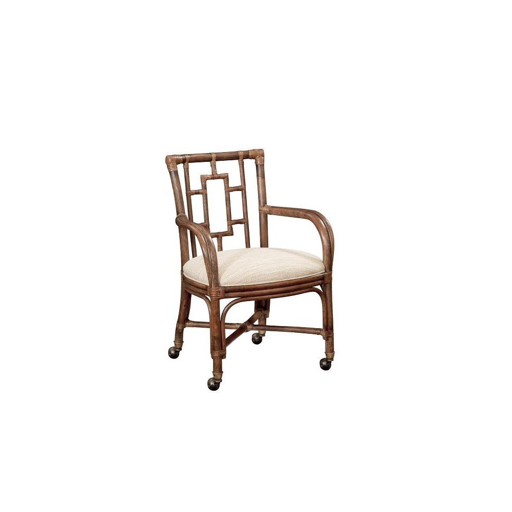 Rarotonga Bamboo Castered Dining Arm Chair Luxfam Luxury Furniture Accessories