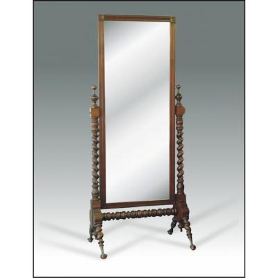 Wood Carved Self Standing Swivel Mirror