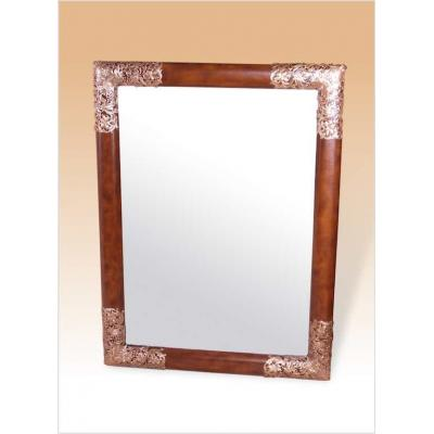 Mirror, Leather Inlay and Brass Smith Corner Accents